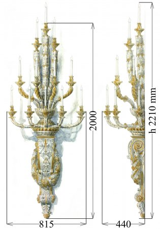 Grand scale, 12-lights wall chandelier, classic style.